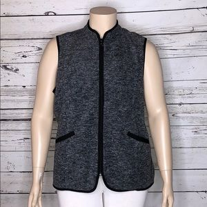 Susan Graver 1X Black White Fleece Zip Vest Jacket